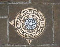 Princess Diana Memorial Walk in London, Metal plaque in pavement, top down view. stock image