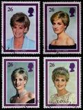 Princess Diana Postage Stamps. British Used Postage Stamps showing Diana Princess of Wales, circa 1998 Royalty Free Stock Photo