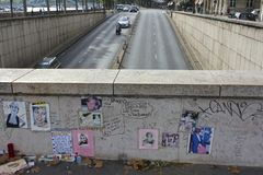 Princess Diana Wall Tribute Above Tunnel Stock Image
