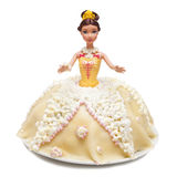 Princess doll cake. Princess toy doll cake with marzipan  on white Stock Photos