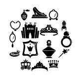 Princess doll icons set, simple style royalty free illustration