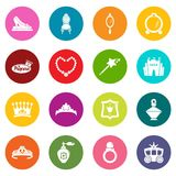 Princess doll icons set colorful circles vector. Princess doll icons set vector colorful circles isolated on white background Stock Photos