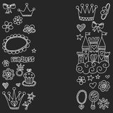 Princess Doodle icons For baby shower, toy shop Stock Photo