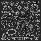 Princess Doodle icons For baby shower, toy shop Royalty Free Stock Photography