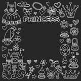 Princess Doodle icons For baby shower, toy shop Stock Photography