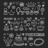 Princess Doodle icons For baby shower, toy shop Royalty Free Stock Photos