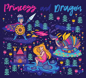 Princess and Dragon art. Magic fantasy print Royalty Free Stock Images