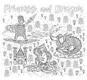 Princess and Dragon art in outline. Magic fantasy print. Ink children print with knight, princess and dragon in fairy tale style. Vector contour illustration Royalty Free Stock Photos