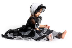 Princess dress and bonnet. Cute little princess dressed in an old style english dress with a bonnet for halloween Royalty Free Stock Photos