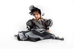 Princess dress and bonnet. Cute little princess dressed in an old style english dress with a bonnet for halloween Stock Image