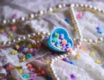 princess dress lace miniature stars colorful heart mold background pastel Stock Image