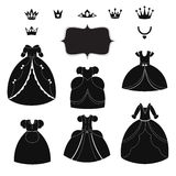 Princess dress silhouettes set. Cartoon black and white wearable items. Stock Photo