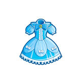 Princess Dress Vector Illustration. Blue Princess Dress. Cartoon Illustration for Kids Stock Images