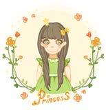 Princess dziewczyna w kwiecistej ramie Obraz Royalty Free