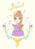 Princess dziewczyna w kwiecistej ramie Zdjęcie Stock