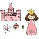 Princess Elements. Cute little princess, castle, wand, frog & flower Stock Image