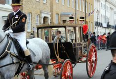 Princess Eugenie & Jack Brooksbank Windsor, Uk - 12/10/2018: Princess Eugenie & Jack Brooksbank wedding procession parade through royalty free stock photo