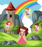 Princess with fairies scene. Illustration royalty free illustration