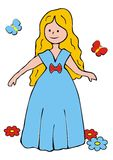 Princess. Fairy dancing in the meadow. Illustration for the childrren vector illustration