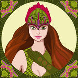 Princess. Fairy princess in exotic green dress Royalty Free Illustration