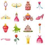 Princess Fairytale Doll Icons Set, Cartoon Style Stock Images