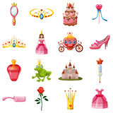Princess fairytale doll icons set, cartoon style Stock Images