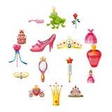 Princess fairytale doll icons set, cartoon style vector illustration