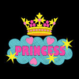 Princess fashion embroidery. Colorful needlework  on black background. Applique for denim or clothes Stock Photo