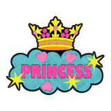Princess fashion embroidery patch. Colorful needlework isolated on white background. Applique for denim or clothes Stock Photos