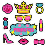 Princess fashion embroidery patch set. Princess fashion embroidery patches. Colorful needlework collection isolated on white background. Appliques for denim or Stock Photos