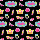 Princess fashion embroidery seamless pattern. Princess embroidery seamless pattern. Colorful needlework wallpaper isolated on black background. Fashion textile Royalty Free Stock Photos