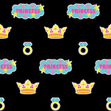 Princess fashion embroidery seamless pattern. Princess embroidery seamless pattern. Colorful needlework wallpaper isolated on black background. Fashion textile Stock Photo