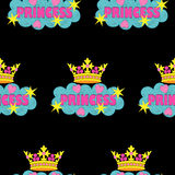 Princess fashion embroidery seamless pattern. Princess embroidery seamless pattern. Colorful needlework wallpaper isolated on black background. Fashion textile Royalty Free Stock Image