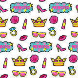 Princess fashion embroidery seamless pattern. Princess embroidery seamless pattern. Colorful needlework wallpaper isolated on white background. Fashion textile Stock Photo