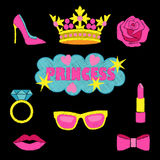 Princess fashion embroidery set. Princess fashion embroideries. Colorful needlework collection isolated on black background. Appliques for denim or clothes Stock Photo