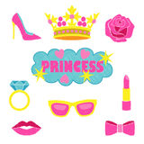 Princess fashion embroidery set. Princess fashion embroideries. Colorful needlework collection isolated on white background. Appliques for denim or clothes Royalty Free Stock Photo