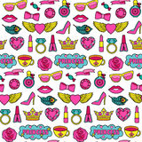 Princess Fashion Patches Seamless Pattern. Princess fashion Seamless Pattern. Vector Pin badges set. Colorful stickers collection. Appliques for denim or clothes Royalty Free Stock Image