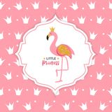 Princess Flamingo Crown  Background Vector Illustration. EPS10 Stock Photos