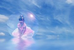 Princess Floating in Bubble Stock Images