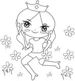 Princess in the flower garden coloring page Stock Images