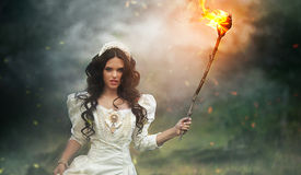 Princess in the forest. Beautiful princess in the forest holding a torch Stock Image