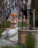 Princess and Fountain. Digital render of a fairytale princess sitting by a fountain in a garden stock illustration