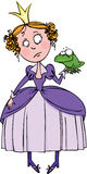 Princess and the Frog. Young princess decides to kiss a frog Royalty Free Stock Image