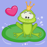 Princess Frog. Cartoon Princess Frog with heart Royalty Free Stock Photography