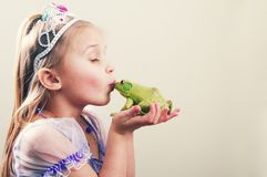 Princess and Frog Concept. A little girl dressed up as princess with a frog Royalty Free Stock Photos