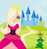 Princess and the Frog in the crown Royalty Free Stock Photography