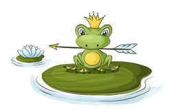 Princess frog. Frog princess fairy tale character is holding an arrow Royalty Free Stock Images