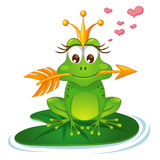 Princess frog with a golden arrow, crown and hearts Stock Photos