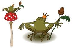 Princess frog on mushroom amanita. Stock illustration. Princess frog on mushroom amanita Royalty Free Stock Images
