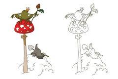 Princess frog on mushroom amanita. Stock illustration. Princess frog on mushroom amanita Stock Photo